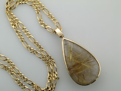 Rutilated quartz teardrop in 14kt yg