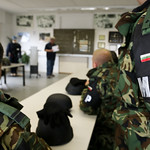 Inside the Hohenfels Training Area's Camp Albersthof, soldiers of Bulgaria's Military Police or Voenna Policia participate in a vehicle safety course Monday, April 6, 2015 prior to drawing U.S. military vehicles from the U.S. Army's Mission Rehearsal Exer thumbnail