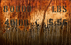 Capacitatious Stipulation (Junkstock) Tags: california old railroad color texture industry closeup typography photography photo graphics junk rust iron paint industrial graphic photos decay transport rusty trains number textures photographs numbers photograph rusted transportation type weathered aged peelingpaint artifact distressed corrosion decayed patina corroded relic rustyandcrusty oldstuff perris centralcal oldandbeautiful oldusedobjects altebenutztegegenstände