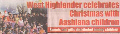 West Highlander Celebrates Christmas With Aashiana Children