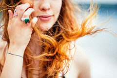 . (Paul Fenrich) Tags: portrait girl lady woman beach hair red wind abstract canon 5d mk2 lips paul fenrich 85mm freckles