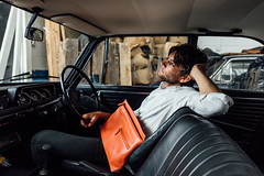 Jas M.B. Spring/ Summer 2017 ( www.ethanleephoto.com) Tags: bag leather man men fashion shoot nikon nikkor london uk portrait brand car bmw 2002 interior bmw2002 vintage d810 1424mm f28 travel