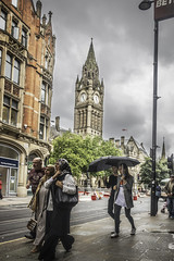 Keeping people dry (tootdood) Tags: street sky people clock rain umbrella manchester town hall dry stormy brolly keeping crossstreet canon70d