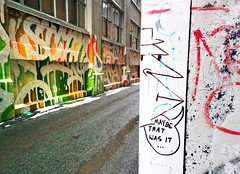 Maybe that was it... (Exile on Ontario St) Tags: montreal streetart graffiti plateau ruelle montral street art urbain urban wall murals mural walls painting plateaumontroyal alleys alley ruelles alleyway alleyways paint written words face character comics cartoon drawing