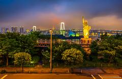 Tokyo meets New York (dinero57) Tags: bridge newyork statue architecture canon liberty tokyo seaside rainbow cityscape cityscapes odaiba dslr canonphotography eos5dmarkiii ef1635f4l dinero57