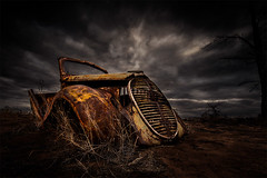 The old car sits (Leanne Cole) Tags: nikond800 leannecole leannecolephotography photos fineartphotography fineartphotographer images environment environmentalphotography environmentalphotographer photographer victoria australia oldcar pinklakes murraysunsetnationalpark abandoned landscape nikon1424mmlens wideangle