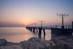 Sunset ([~Bryan~]) Tags: sunset bridge airport sea bluehour weather climate hongkong international cheklapkok hongkonginternationalairport city urbanlandscape airplane
