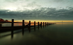 the sliver; the green sea (Lee Kindness) Tags: portobello beach edinburgh scotland sea seaside green orange clouds groyne reflection wideangle