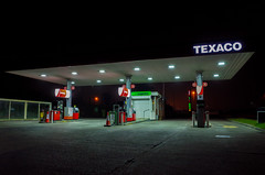 ([Scott]) Tags: petrol station fuel texaco pump driving night forecourt wales