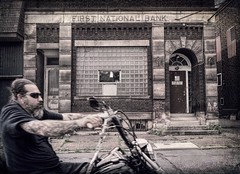 Johnstown Biker (Bown Photo) Tags: biker johnstown pa penn pennsylvania grit rider motorcycle bank