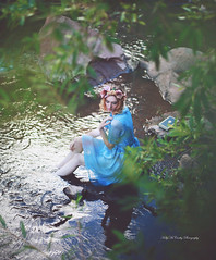 Enchanting Fable (Kelly McCarthy Photography) Tags: woman model beautiful beauty fashion style lake water stream river crown flowers floralcrown flowercrown dress blue bluedress vintage antique fairytale fantasy book outdoors blonde pose forest woods catchycolorsblue catchycolorsgreen