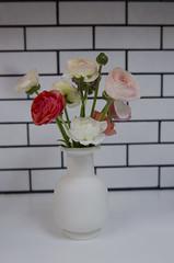 ranunculus bouquet (moke076) Tags: ranunculus flower bouquet white vase grey gray grout subway tile kitchen house nikon d7000