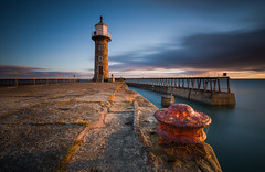 Sunrise at a very windy Whitby!! (Dave Holder) Tags: whitby north yorkshire northyorkshire coast lighthouse pier landscape longexposure canon70d canonefs1022mm leebigstopper leefilters