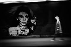 """Extremes"" (helmet13) Tags: street people bw woman graffiti candid tunnel motionblur panning augsburg neonlight aoi undercrossing peaceaward heartaward leicaxvario"
