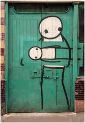 East End Street Art (Mabacam) Tags: door streetart green london painting graffiti wallart urbanart aerosolart eastend stik 2015