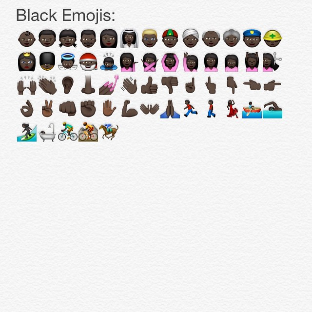 All the black emojis in iOS 8.3 #newemojis