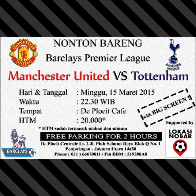 Lokasi Nobar: Nobar #Chelsea Vs #Southampton dan #ManchesterUnited Vs #Tottenham di @cafedeploeit #Pluit #Jakarta Utara