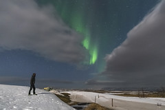 'Caught In The Gap' - Iceland (Kristofer Williams) Tags: winter portrait sky cloud snow weather night stars landscape iceland nightscape aurora figure northernlights auroraborealis selfie
