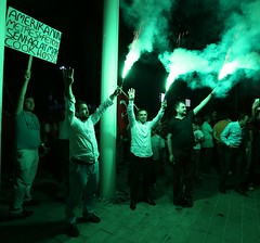 Flares light up demos in Taksim Square, Istanbul (johnmees) Tags: turkey istanbul demonstrations coup taksimsquare gezipark turkeycoupattempt