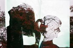Film #swap with H Tot (Khnh Hmoong) Tags: autumn portrait film nature leaves japan analog 35mm photography doubleexposure vietnam analogue fujicolor100 filmswap