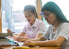 North korean teens defectors in yeo-mung alternative school, National capital area, Seoul, South korea (Eric Lafforgue) Tags: school people college students horizontal asian togetherness education asia sitting classroom refugees indoors together seoul learning educational lesson southkorea studying 2people twopeople northkorea schoolroom defector northkorean nationalcapitalarea colourpicture escapers yeomyung sk162375
