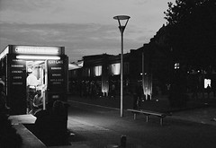Food Van (joshuacolephoto) Tags: bristol city uk england street streetphotography walk tripod longexposure night lowlight naturallight contrast bnw blackandwhite noir bw film 135 35mm ilford xp2 nikon fe2 slr photography