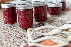 putting up summer (observed.by.diane) Tags: jam canning jars strawberry red summer