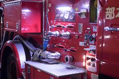 Fire truck (Yuta Ohashi LTX) Tags: firetruck fireengine  night red light car  snap city  nikon  d750 58mm f14 voigtlander nokton    fixed focal 5814 sl primelens