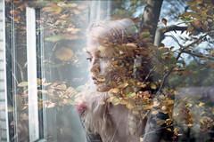 film swap (La fille renne) Tags: film analog 35mm lafillerenne zenite 50mmf18 fujicolor100 mx doubleexposure multipleexposure swap filmswap khnhhmoong blueregard portrait woman model plants nature grain louiseblueregard nikonfm