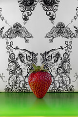 Presenting: The Strawberry (KellarW) Tags: green onstage presentation presenting red strawberry style styled tada wallpaper wesanderson canon5diii canon100mmf28l philipshue 5diii 5dmarkiii 5dmkiii ikeawrappingpaper wrappingpaper