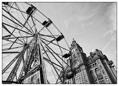 Waterfront Wheel (Maggie's Camera) Tags: liverpool summer 2016 village waterfront festival mersey liverbuilding blackandwhite