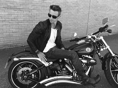 Today's photoshoot (PaulMilller) Tags: hellsangels biker oldschool mono blackwhite blackandwhite fun leatherjacket motorcycle motorbike harleydavidson classic jamesdean photoshoot modelling model