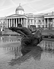 Trafalgar Square Fountain (surreyblonde) Tags: uk england sculpture reflection london water fountain swimming canon dolphin powershot dolphins mermaids figures humans bronzes tritons g15