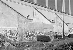 (geowelch) Tags: toronto blackwhite 35mmfilm urbanlandscape sterlingroad pentaxspotmatic xp2super400 towerautomotive plustekopticfilm7400 35mmf35supermulticoatedtakumar