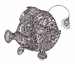 Liiiightbulb Fishie (artyshroo) Tags: sea fish seaside doodle penink shroo zentangle wwwartyshrooblogspotcouk artyshroo