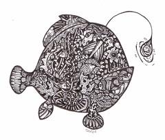 Liiiightbulb Fishie (artyshroo) Tags: sea fish seaside doodle penink shroo zentangle wwwartyshrooblogspotcouk artyshroo