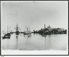 """View of Port Adelaide showing H.M.S.""""Protector"""" at anchor (centre). - Photograph courtesy of the State Library of South Australia (paelocalhistory) Tags: ship transport places protector warship sailingship portadelaide portriver seariver statelibraryofsacollection"""