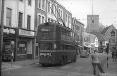696 Trolleybus in Dartford High Street . (fpo22p) Tags: street uk bus london history public electric ferry se kent high nw market transport terminal woolwich 1959 dartford 1935 trollybus