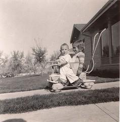 Aleda and Patrice - Denver, October 1952 (Ed Yourdon) Tags: colorado stroller denver aledayourdon patriceyourdon