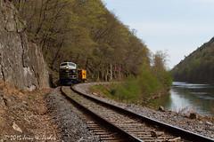 Curving along the river (jwjordak) Tags: trees usa train river rocks wv bo hillside f7 722 pesx
