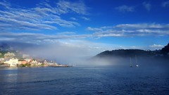 Misty Dartmouth Harbour (TyroneRose) Tags: tyronerose landscape dartmouth harbour sea mist sky clouds samsung s6edge fog uk devon quay marine weather boat sail seascape kingswear estuary river harbor coast