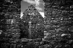(Ails N hgeartaigh) Tags: ireland sky blackandwhite bw black history church stone architecture clouds outside countryside high ancient europe european christ cross outdoor clonmacnoise religion churches historic christian monastery christianity monastic 2016