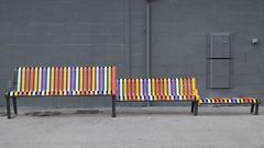 Dans le gris de la ville -* (Titole) Tags: bench grey colorful banc multicolore thechallengefactory titole nicolefaton lapioline