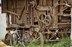 the welcome wagon (Pejasar) Tags: wagon welcome wood metal bicycle grass iximche guatemala