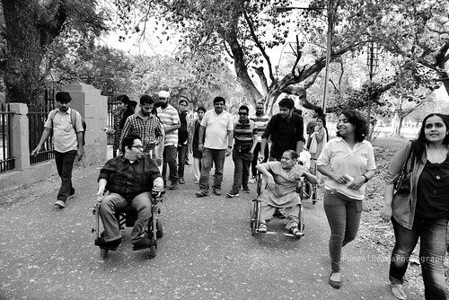 Accessible Tour of Red Fort, New Delhi: The group moving forward towards the tour destination.