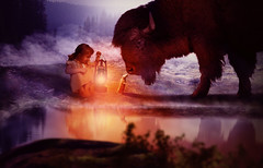 science (Rijba) Tags: bison girl lamp light water mouse animal art photoshop manipulation digital science couriositiy