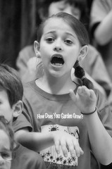 2016-04-07 (160) Fred D ES 2nd grade show (How Does Your Garden Grow) evening (JLeeFleenor) Tags: photos photography virginia va leesburg loudouncounty frederickdouglass elementaryschool twins inside indoors youthactivities youth skit bw blackwhite monochrome