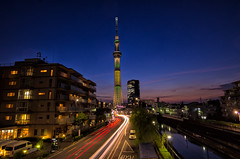 Tokyo Skytree lit up for Rio Olympics! (703) Tags: brasil brazil japan lighttrails olympics pentaxk5 rioolympics rioolympics2016 sigma1020mmf35 skytree tokyo tokyoskytree cityscape lightrails night nightscape nightscene nightview