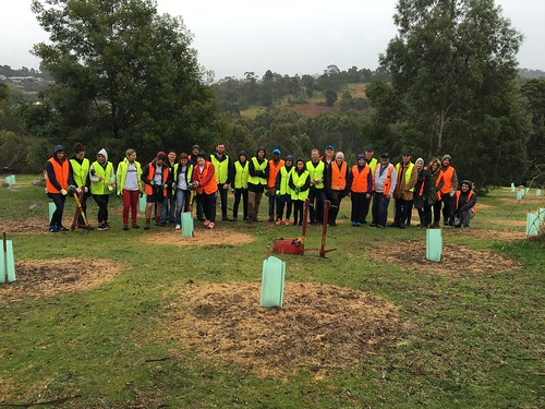Volunteers from supporter organisations at the Greenfleet tree planting day - 19 August 2016