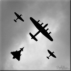 Typhoon Chaser (Box Brownie Brian) Tags: lancaster bomber spitfire fighter hurricane eurofighter typhoon aircraft airplane warplane propeller jet bbmf battleofbritainmemorialflight lincoln overhead silhouette monochrome
